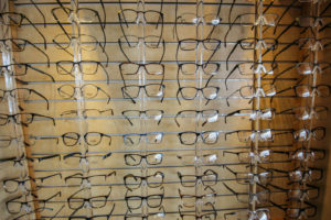 rows of glasses frames on display