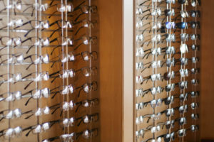 rows of glasses on display at Sid Savitt O.D. office