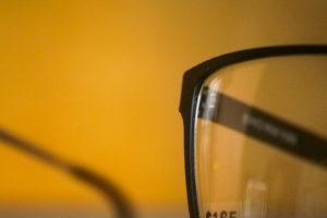 edge of black glasses