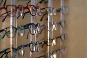 glasses on display at boutique