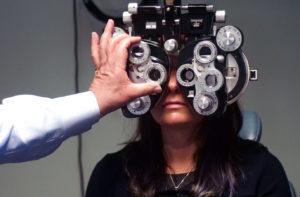 patient undergoing vision test