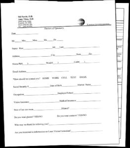 Sid Savitt O.D. patient form
