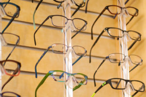 display of fashionable glasses